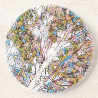 Pretty Tree Of Life Stained Glass Photomanipulatio Coaster