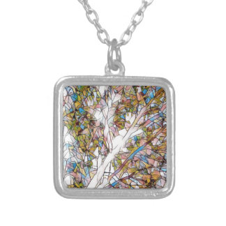 Pretty Tree Of Life Stained Glass Photomanipulatio Silver Plated Necklace