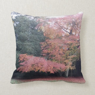 Pretty tree with pink leaves autumn garden throw pillow