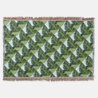 Pretty trees, river, water and green leaves throw blanket