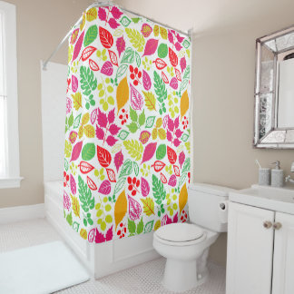 Pretty Tropical Color Leaf Pattern Shower Curtain