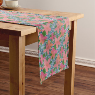 Pretty Tropical Flower Painted Pattern Short Table Runner
