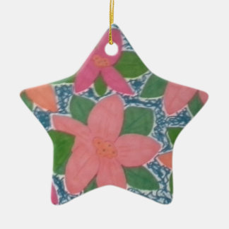 Pretty Tropical Flowers Hand-painted Pattern Ceramic Star Ornament