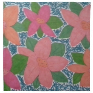 Pretty Tropical Flowers Hand-painted Pattern Napkin