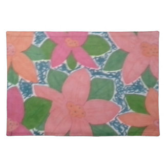Pretty Tropical Flowers Hand-painted Pattern Placemat