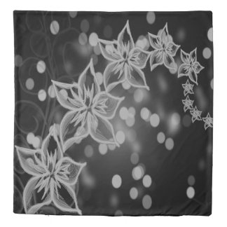 Pretty  tropical grey black flower Duvet cover