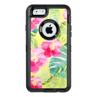 Pretty Tropical Palm Leaves and Hibiscus Flowers OtterBox Defender iPhone Case