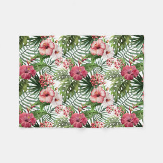 Pretty Tropical, Pink and Red Hibiscus Blanket