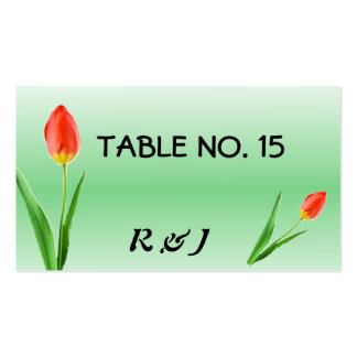 Pretty Tulips Table Number Cards for Guests Pack Of Standard Business Cards