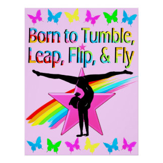 PRETTY TUMBLING GYMNAST GIRL POSTER