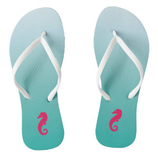 Pretty Turquoise Ombre Seahorse Flip Flops