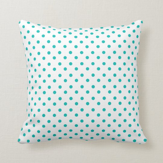 Pretty Turquoise Polka Dots Design Throw Pillow