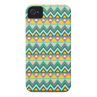 Pretty Turquoise Yellow Pink Native American Print iPhone 4 Case-Mate Case