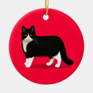Pretty Tuxedo Kitty Ceramic Ornament