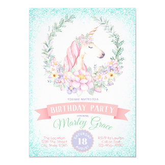 Pretty Unicorn Birthday Party Invitations