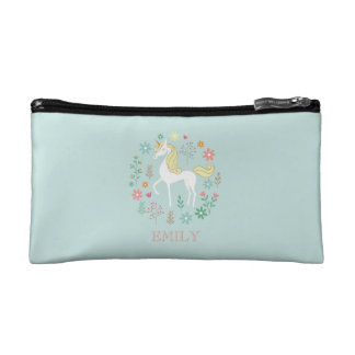 Pretty Unicorn Cute Personalized Aqua Cosmetic Bag