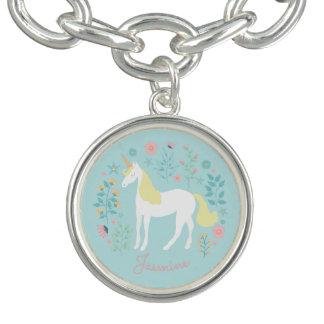 Pretty Unicorn & Flowers Aqua Personalized Charm Bracelets