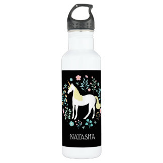 Pretty Unicorn & Flowers Black Personalized 710 Ml Water Bottle