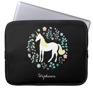 Pretty Unicorn & Flowers Black Personalized Laptop Sleeve