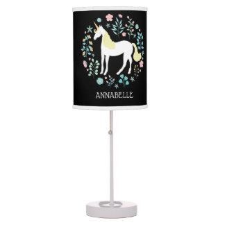 Pretty Unicorn & Flowers Black Personalized Table Lamp
