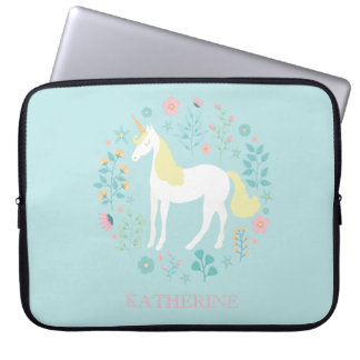 Pretty Unicorn & Flowers Personalized Laptop Sleeve