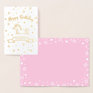 Pretty Unicorn Gold & Pink Happy Birthday - Name Foil Card