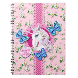 Pretty Unicorn in Pink with Polka Dots Notebook