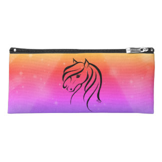 Pretty US Made Hand Drawn Sunset Horse Pencil Case