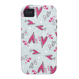 Pretty Valentine's Day Love Hearts Blue and Pink iPhone 4 Cases