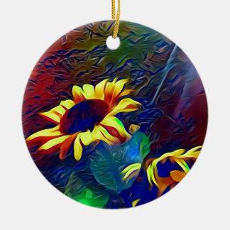 Pretty Vibrant Artistic Sunflowers Ceramic Ornament