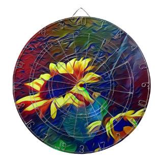 Pretty Vibrant Artistic Sunflowers Dartboard