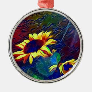 Pretty Vibrant Artistic Sunflowers Metal Ornament