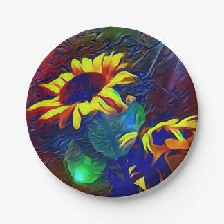Pretty Vibrant Artistic Sunflowers Paper Plate