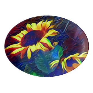 Pretty Vibrant Artistic Sunflowers Porcelain Serving Platter
