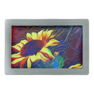 Pretty Vibrant Artistic Sunflowers Rectangular Belt Buckle