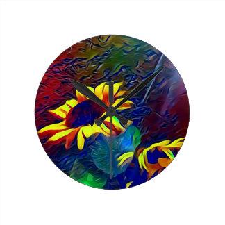 Pretty Vibrant Artistic Sunflowers Round Clock