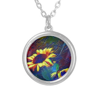 Pretty Vibrant Artistic Sunflowers Silver Plated Necklace