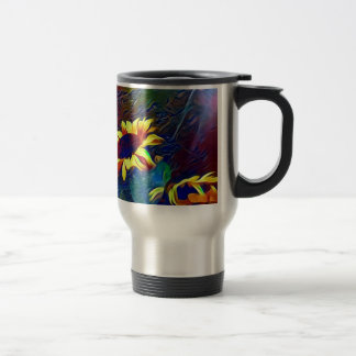 Pretty Vibrant Artistic Sunflowers Travel Mug