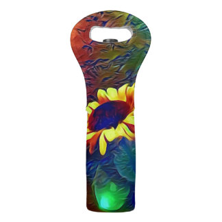 Pretty Vibrant Artistic SunflowersEnhanced  colors Wine Bag