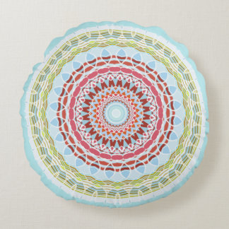 Pretty Vibrant Colourful Mandala Double Sided Round Pillow