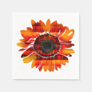 Pretty Vibrant Fiery Sunflower Disposable Napkins