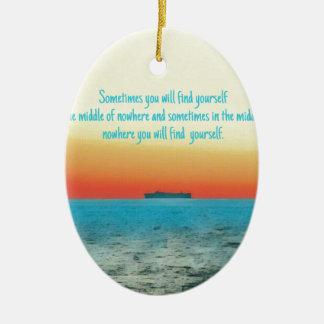 Pretty Vibrant Oceanscape Wisdom Quote Ceramic Ornament