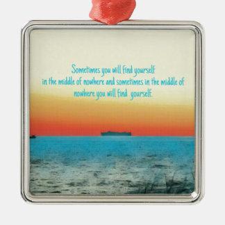 Pretty Vibrant Oceanscape Wisdom Quote Metal Ornament