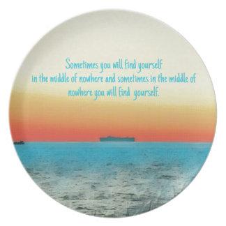 Pretty Vibrant Oceanscape Wisdom Quote Plate