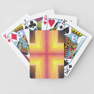 Pretty Vibrant Yellow Peach Cross shaped Pattern Bicycle Playing Cards