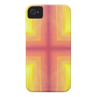 Pretty Vibrant Yellow Peach Cross shaped Pattern Case-Mate iPhone 4 Case