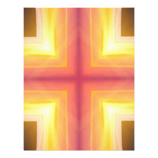 Pretty Vibrant Yellow Peach Cross shaped Pattern Letterhead