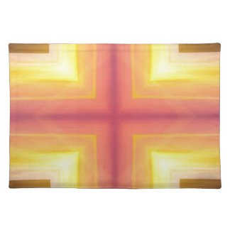Pretty Vibrant Yellow Peach Cross shaped Pattern Placemat