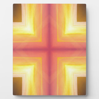 Pretty Vibrant Yellow Peach Cross shaped Pattern Plaque