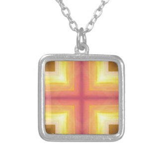 Pretty Vibrant Yellow Peach Cross shaped Pattern Silver Plated Necklace
